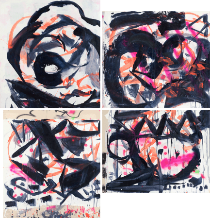 ter Hell · <strong>Synthesic vision</strong> · 2007 · 4-part · 300 x 300 cm · acrylic, spray on canvas