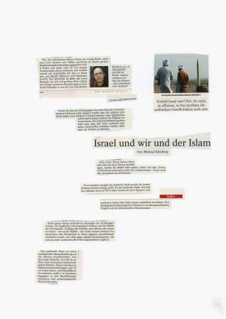 ter Hell · <strong>Israel und wir und der Islam</strong> [Israel and us and the Islam] · from the collage series 'L'article' · SpiegelBox 1 (2011–2013) · 42 x 30 cm